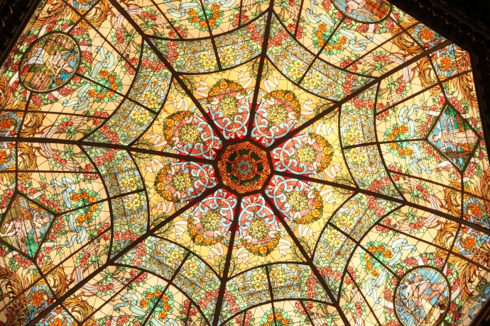 Stained glass ceiling at the Teatro Colon